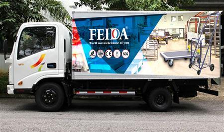 Xe đẩy hàng Feida quảng cáo trên xe bus và nhà chờ xe bus