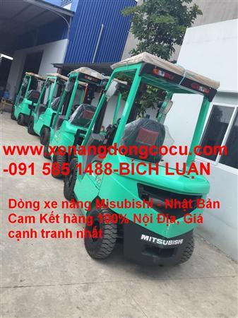 xe nâng dầu hiệu mitsubishi 2.5 tấn cao 3m chui container