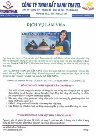 Dịch vụ làm visa cho khách đi du lịch - CTY DU LỊCH ĐẤT XANH