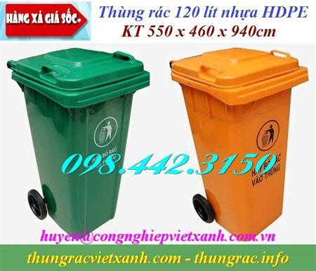 Thùng rác 120 lít nhựa HDPE nắp kín - 2 bánh xe giá siêu rẻ