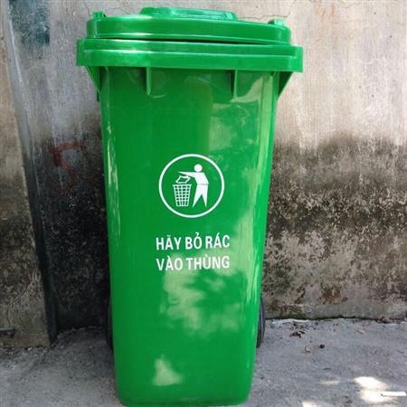 Thùng rác môi trường 240 lít xanh lá Lhe 0967788450 Ngọc