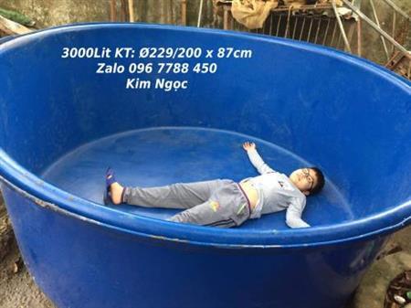 Bồn tròn 3000 lít làm hồ bơi, chứa nước Lhe 0967788450 Ngọc