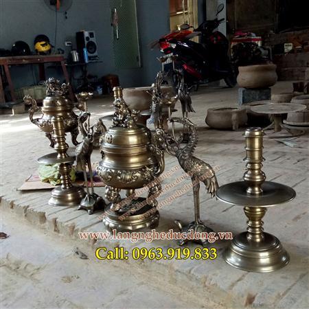 Bộ đỉnh thờ hoa sòi 40cm bằng đồng vàng, bán đỉnh đồng
