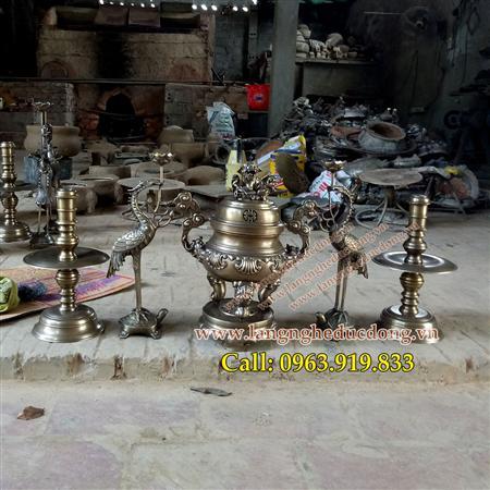 Bộ đỉnh thờ hoa sòi 40cm, bán đỉnh đồng, đình đồng thờ cúng