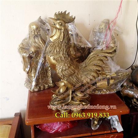 Tượng gà đồng cao 50cm, gà phong thủy, bán gà đồng
