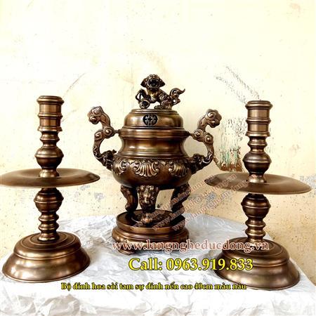 Bộ đỉnh thờ hoa sòi 40cm bằng đồng vàng, hun đen giả cổ