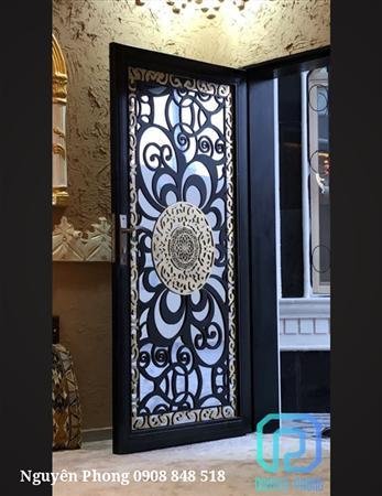 Cửa nhôm, cửa kính ốp tấm hoa văn CNC trang trí