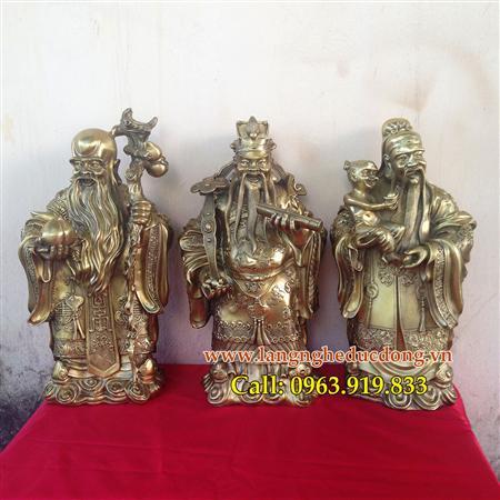 Tượng đồng tam đa Phúc - Lộc - Thọ, bộ tam đa cao 36cm