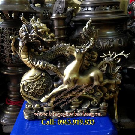 Cặp tượng rồng ngựa gậy như ý, tượng phong thủy, long mã bằn