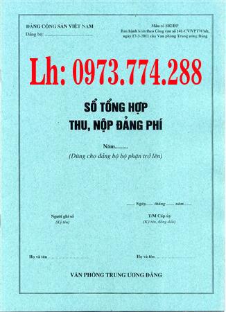 Bán quyển sổ tổng hợp thu nộp đảng phí Mẫu số S02/ĐP