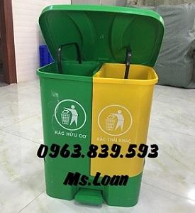 Thùng rác 2 ngăn đạp chân - thùng rác để văn phòng rẻ.