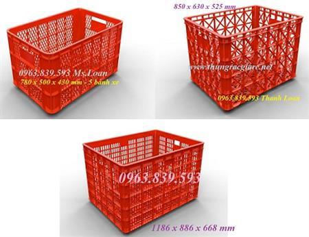 Sóng nhựa có bánh xe đựng hàng công nghiệp rẻ./ 0963.839.593