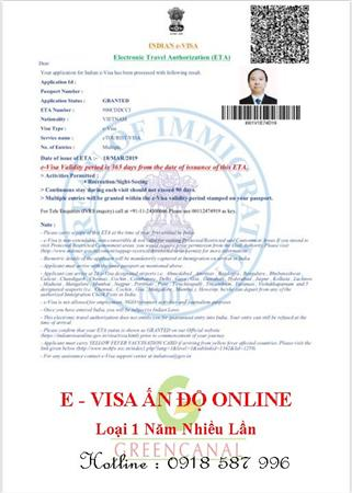 Làm E- Visa Ấn Độ Online, visa dán 1 - 5 năm nhiều lần