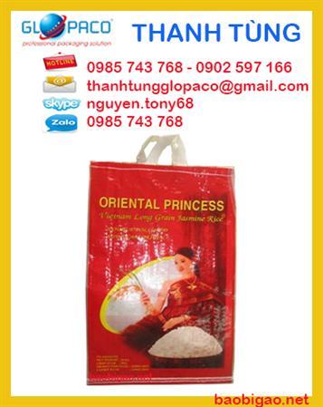 Bao bì pp dệt, bao bì đựng gạo 10 kg ghép màng OPP may quai