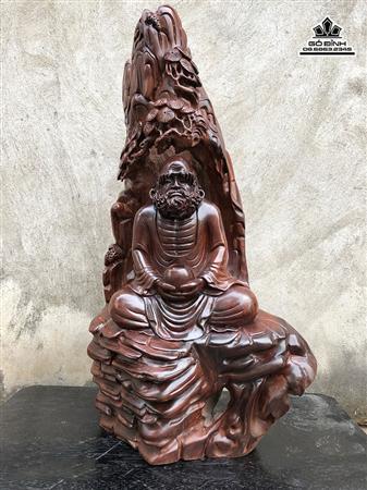 Tượng Đạt Ma Thiền gỗ trắc cao 63 rộng 33 dày 22 (cm)