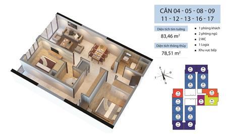 Cho thuê căn hộ Goldmark City 136 Hồ Tùng Mậu 2 ngủ full đồ