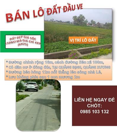 Bán đất đầu ve Quảng Định