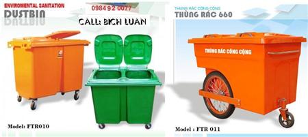 XE GÒM RÁC, xe đẩy rác, thùng rác nhựagiá rẽ, lh: 091585488